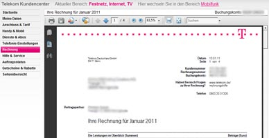 telekom rechnung online die telekom onlinerechnung f r. Black Bedroom Furniture Sets. Home Design Ideas